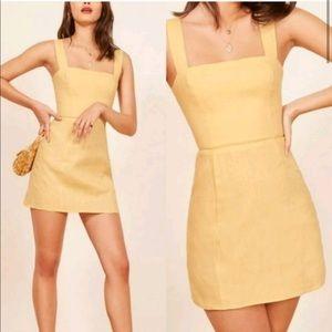 Reformation Brigette Linen Dress Yellow Size 2
